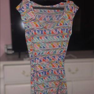 Multicolor Geometric Tie Waist T-Shirt Dress Sz M
